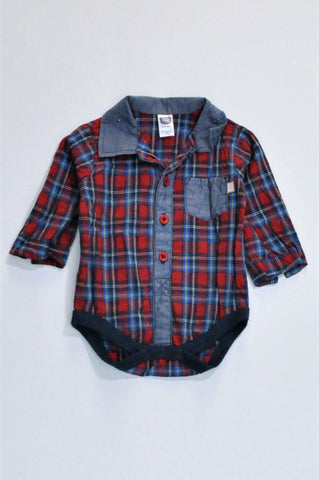 Ackermans Red & Navy Plaid Long Sleeve Collared Baby Grow Boys 3-6 months