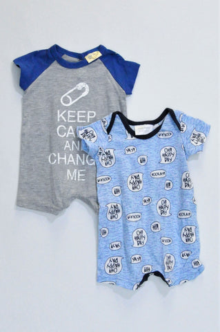 Pick 'n Pay Pack Of 2 Grey Keep Calm & Blue Speech Box Romper Boys N-B