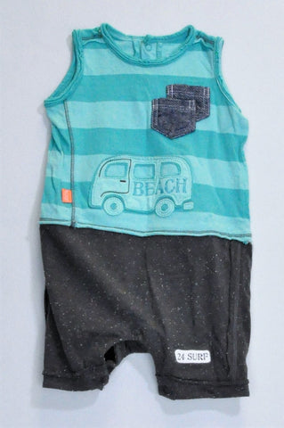 Woolworths Blue Striped & Grey Speckled Beach Van Romper Boys 3-6 months
