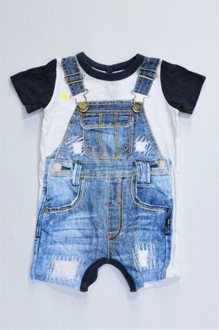 Woolworths White & Navy Dungaree Graphic Romper Boys 3-6 months