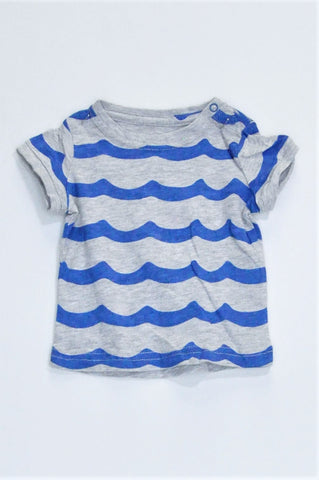 Cotton On Grey With Blue Wave Stripes Shoulder Snap T-shirt Boys 3-6 months