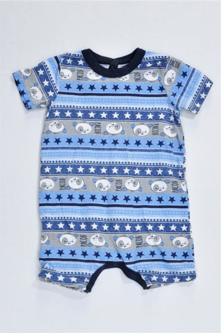 Woolworths Blue & Navy Trim Bear Patterned Romper Boys 3-6 months