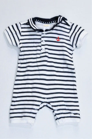 Mother's Choice White & Navy Striped With Red Anchor Romper Boys 0-3 months