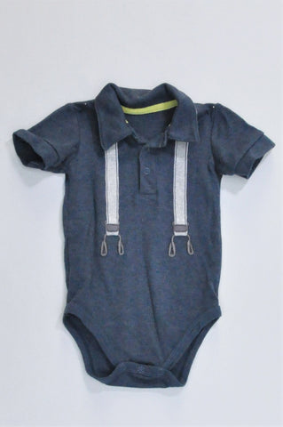 Woolworths Navy With Grey Suspender Detail Baby Grow Boys 3-6 months