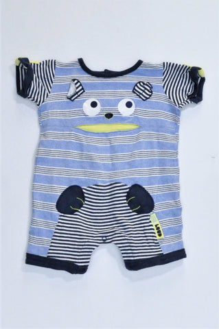 Woolworths Navy Striped Face With Ears Graphic Romper Boys 3-6 months