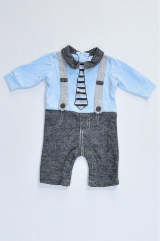 Woolworths Blue & Grey Suspender Collared Long Sleeve Romper Boys N-B