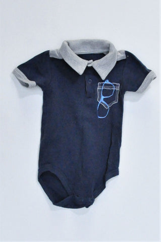 Woolworths Navy Sunglasses Collared Grey Trim Baby Grow Boys 3-6 months