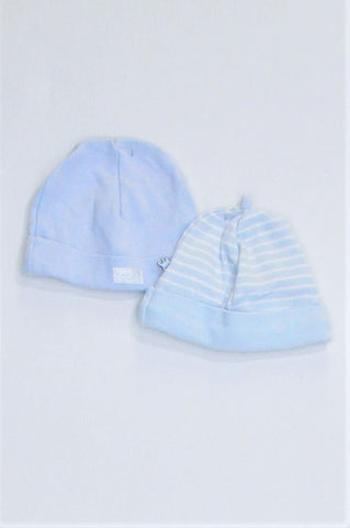 Woolworths Pack Of 2 Blue And White Striped & Dusty Blue Beanies Boys N-B