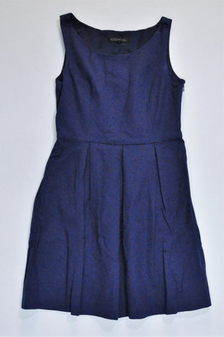 Forever New Navy Pleated Tank Sleeve Dress Women Size 10