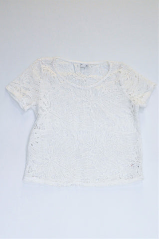 Mr. Price White Lacey Top Women Size S