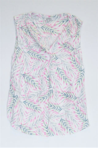 Old Khaki White With Green & Pink Leaves Sleeveless Top Women Size 8