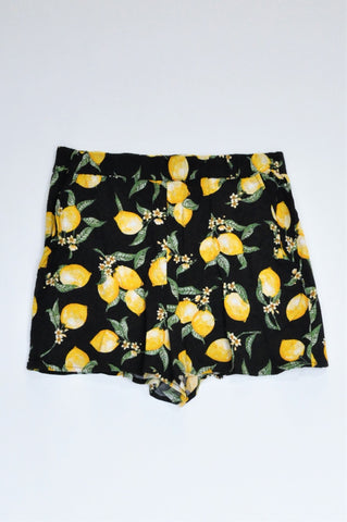 H&M Black Lemons High Waisted Lightweight Shorts Women Size 10