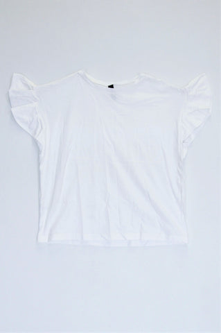Woolworths White Frill Sleeve T-shirt Women Size S