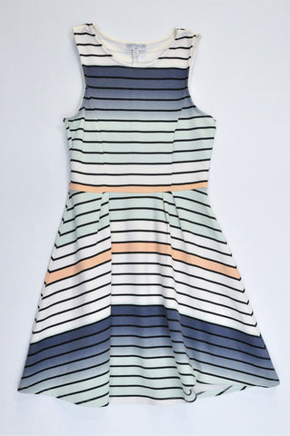 Cotton On White, Blue & Peach Striped Sleeveless Dress Women Size XS