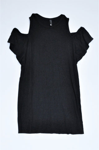 Woolworths Black Cold Shoulder Tunic Top Women Size S