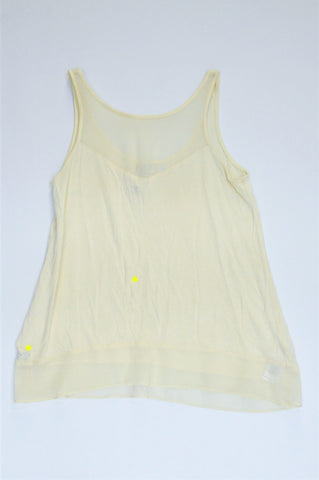 Forever New Yellow Mesh Trim Lightweight Top Women Size 8