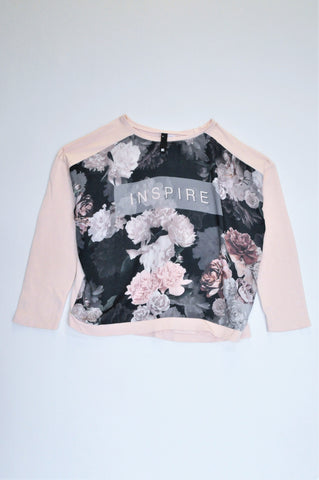 Woolworths Light Pink Floral Inspire Long Sleeve Pull Over Top Women Size M