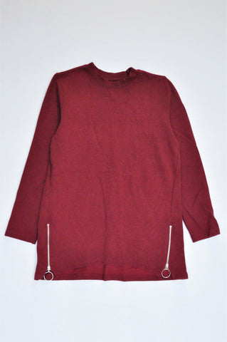 Woolworths Red Zip Detail Ribbed Long Sleeve Top Women Size S