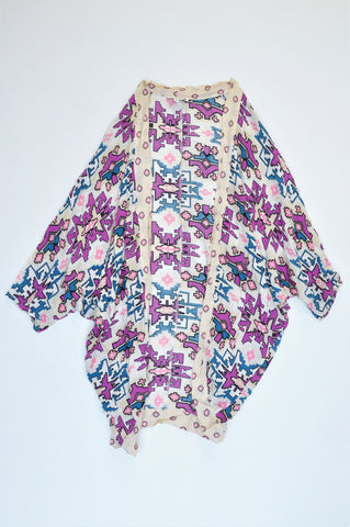 Cotton On Beige Purple & Blue Aztec Print Short Sleeve Cardigan Women Size M