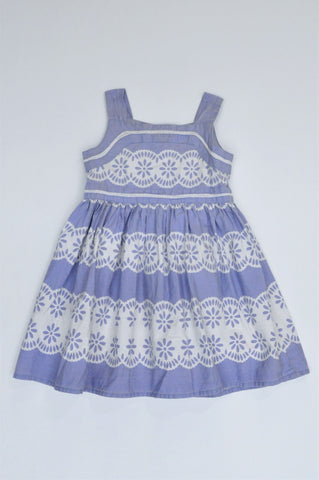 Monsoon Dusty Blue & White Patterned Button Up Dress Girls 12-18 months