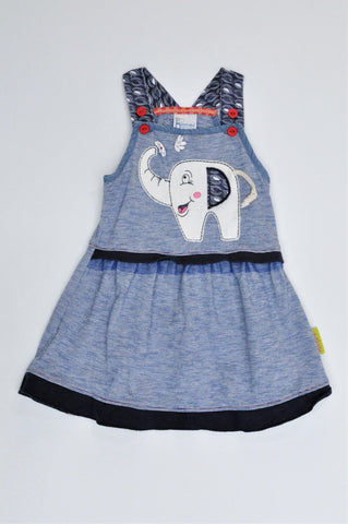 Hooligans Navy Striped Elephant Dungaree Dress Girls 1-2 years