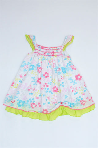 Woolworths White Floral With Yellow Trim Lightweight Dress Girls 12-18 months
