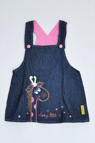 Hooligans Navy Embroidered Giraffe Lightweight Dungaree Top Girls 1-2 years