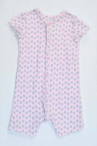 Woolworths Light Pink & Grey Patterned Button Up Romper Girls 6-12 months