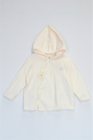Woolworths White With Snaps Hooded Top Girls 3-6 months
