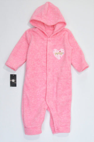 New Woolworths Pink Fleece Pretty Long Sleeve Hooded Onesie Girls 0-3 months