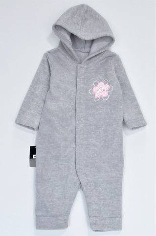 New Woolworths Grey Fleece Flower Long Sleeve Hooded Onesie Girls 0-3 months