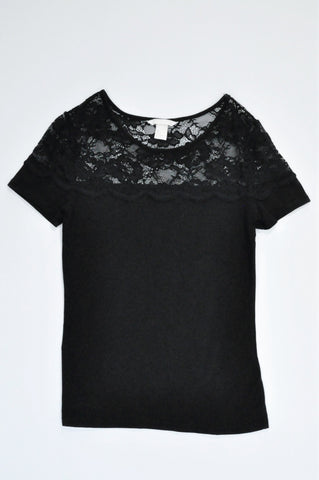 H&M Black Lace Detail T-shirt Women Size S