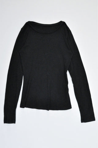 Woolworths Black Basic Long Sleeve T-shirt Women Size 6