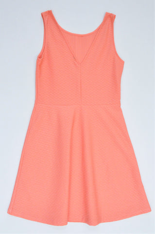 Unbranded Peach Textured V Neck Dress Women Size 8