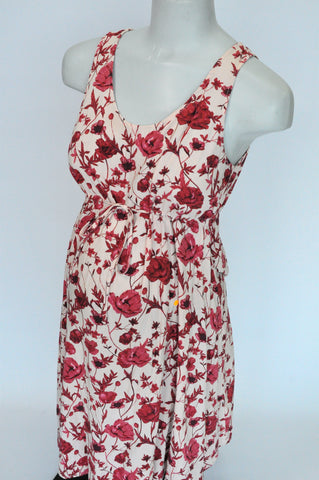 H&M Pink & Red Rose Floral With Drawstrings Tank Sleeve Maternity Dress Women Size 10