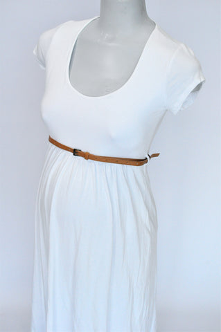 Cherrymelon White With Belt Maternity Dress Women Size 12