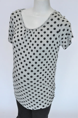 Mr. Price Grey & Black Polka Dot Maternity Top Women Size 10