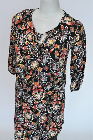 Mr. Price Black & Orange Floral 3/4 Sleeve Maternity Dress Women Size 8