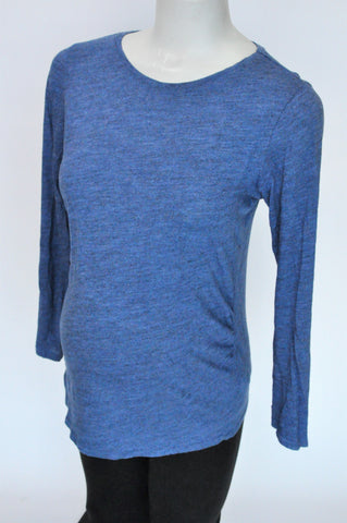 H&M Heathered Blue Long Sleeve Maternity Top Size M