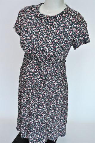 Cherrymelon Navy & Pink Ditsy Print Short Sleeve Waist Tie Maternity Dress Size 34