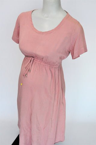 Cherrymelon Dusty Pink Cinched Waist Short Sleeve Maternity Dress Size 34