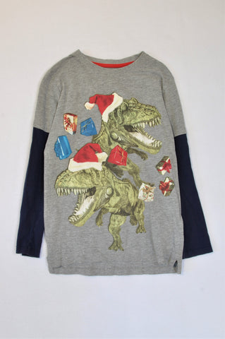 Debenhams Grey & Navy Long Sleeve Christmas Dinosaur T-shirt Boys 9-10 years