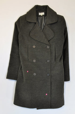 Hilton Weiner Charcoal Wool Double Breasted Coat Women Size M