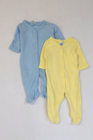 Ackermans 2 Pack Blue & Yellow Long Sleeve Onesies Unisex Tiny Baby