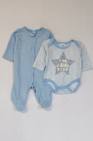 Ackermans 2 Pack Blue Pinstripe I Am A Little Star Baby Grow & Basic Blue Onesie Boys Tiny Baby