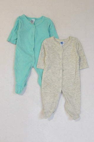 Ackermans 2 Pack Aqua & Grey Heathered Footed Onesies Unisex Tiny Baby