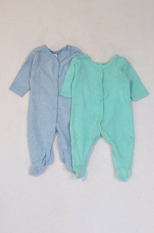 Ackermans 2 Pack Blue Long Sleeve Onesies Boys Tiny Baby