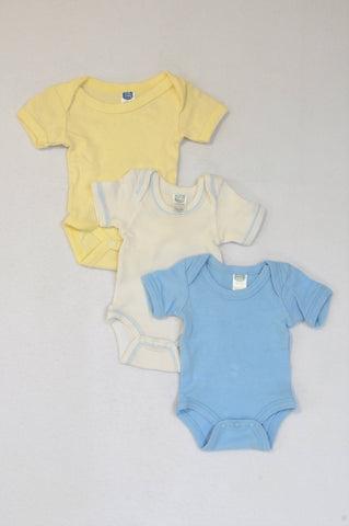 Ackermans 3 Pack Blue Yellow & White Baby Grows Unisex Tiny Baby
