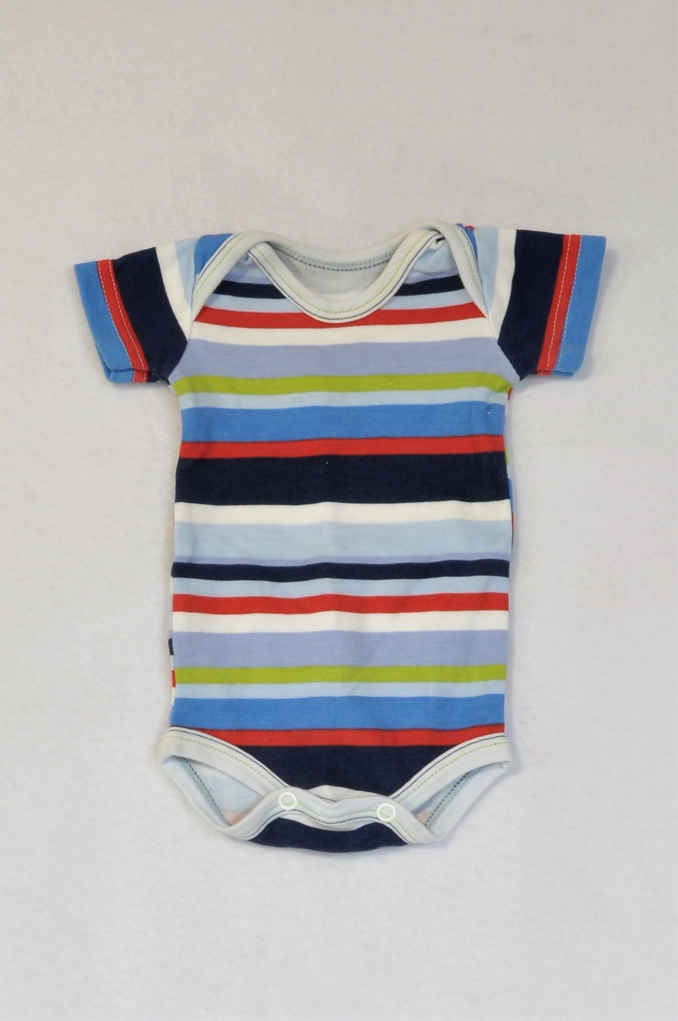 Woolworths Navy White & Green Stripe Baby Grow Unisex N-B