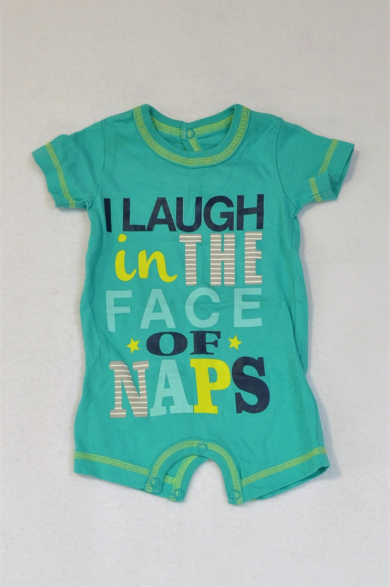 Woolworths Teal & Yellow Trim I Laugh In The Face Of Naps Romper Boys N-B